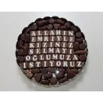 Chocolade schaal rond met handgemaakte bonbons